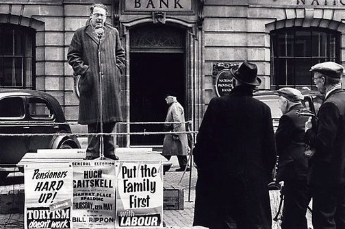 An image of Hugh Gaitskell on election campaign UK by David Moore