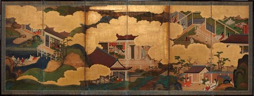 An image of Six scenes from 'The Tale of Genji' by Tosa School
