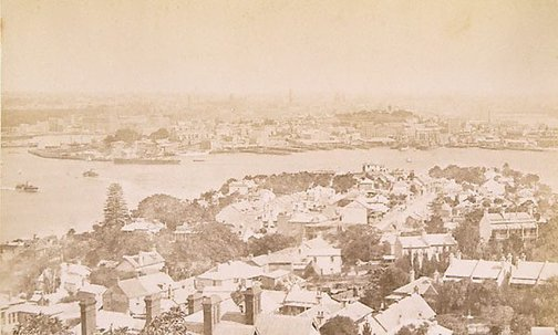 An image of Views in Sydney Harbour (North Shore showing Circular Quay in background) by Unknown