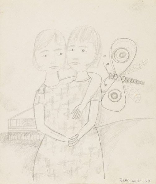 An image of (Figure with two heads and butterfly) by Charles Blackman