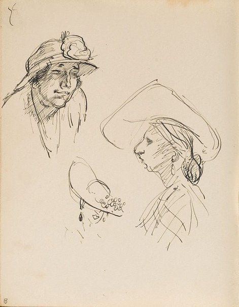 An image of (Studies of womens' hats) (London genre) by William Dobell