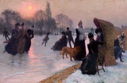 An image of Ice skaters by Henri Lucien Doucet